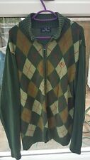 FRED PERRY Mens Cardigan Size M green checked 100%Cotton Retro BARGAIN