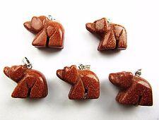 5PCS Wholesale unique gold sand stone carved bear pendant bead Vk4591