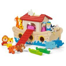 Noah`s Ark And Animals Wooden Toys 19 Pieces Playset