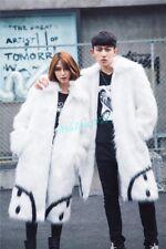 Men Winter Lapel Trench Coat Warm Jacket Full Length Outwear Fur Collar Chic Hot
