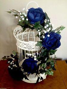 GOTHIC ROMANCE NAVY PEONY ROSE, GYPSOPHILA & IVY BIRD CAGE TABLE WEDDING FLOWERS
