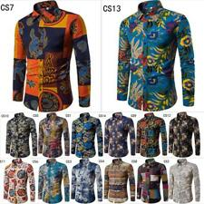 2017 Fashion Men's Luxury Golden Printed Long Sleeve Button Casual Dress Shirt