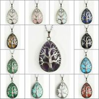 Natural Amethyst Quartz Crystal Opalite Chakra Tree of Life Pendant Necklace