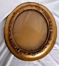 Antique Convex Picture Frame Curved Bubble Glass Oval Ornate Wood Floral Gesso