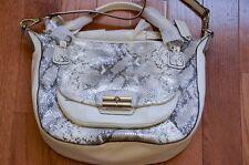 NWT $598 Coach 19325 Kristin Python Embossed Leather Round Satchel Silver/Grey