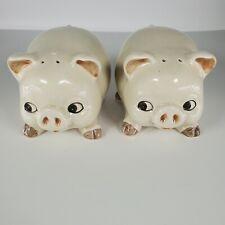 Vintage Otagiri OMC Pigs Salt and Pepper Shakers Handpainted Japan Stickered