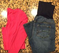 Lot Women's Maternity GAP XS Pink Shirt & Liz Lange Size 4 Cropped Jeans