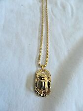 "Egyptian Metal Gold Plated 1.1"" Scarab Beetle Necklace With Chain Great Quality"