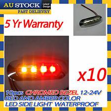 Chromed Bezel 12v 24v Red Amber Led Side Marker Clearance Light x10
