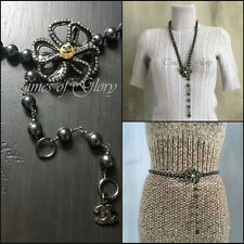 Auth Chanel Black Pearl Chain Camellia Belt CC LOGO DIAMANTE Necklace Chain