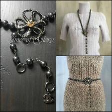 Auth Chanel Nero Perla Catena Camellia Cintura CC LOGO STRASS COLLANA CATENA