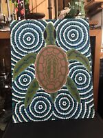 Vintage 90s 2000's Signed Aboriginal Dot Painting Green Turtle