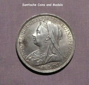 1897 QUEEN VICTORIA VEILED HEAD SILVER CROWN - LXI Edge - High grade with lustre