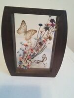 Vintage Pressed Between Glass Dried  Flowers and Butterfly Picture Wooden Frame