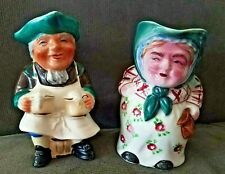 Vintage Cream Pitcher Pair, Happy Man & Angry Woman, Hand Painted In Japan