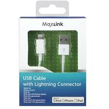 Maxlink MFI 8 Pin Lightning Charge and Sync Cable for iPhone 7 6S SE WHITE NEW
