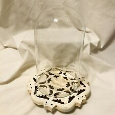 "Clear Glass Display Dome 4""X7"" Cloche Bell w/ shabby wooden base"