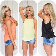 Womens Ladies Black or Yellow or Orange Singlet Top T Shirt Tank Tee