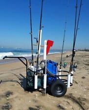 Fishing Pier Beach Surf Rod Reel Cooler Holder Rack Wheels Gear Carrier Cart