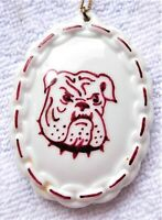 Large Hand-painted China Maroon & White Bulldog Mascot Pendant + Chain Necklace