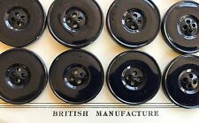 Vintage Buttons -24 Black 4-hole Flat Back Carved Casein Buttons - Britain