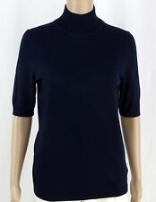 Talbots Top M Short Sleeves Career Mock Turtleneck Cotton Blend Navy Blue