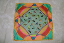 """New Macclesfield 100% silk pocket square 13"""" hand rolled fishing theme multi"""