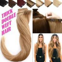 """10""""-24"""" Clip In Hair Double Thick Weft Full Head Remy Real Human Hair Extensions"""