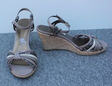 M&S Brown & Beige & Snake Print Patent Wedge Sandals Size 6