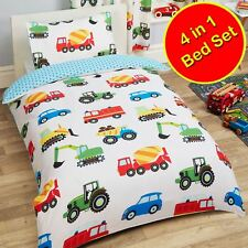 TRUCKS & TRANSPORT JUNIOR TODDLER SET - QUILT + PILLOW + DUVET COVERS - CARS