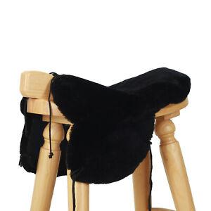 Western Saddle Seat Saver Genuine Australian Merino Sheepskin Black Saddle Cover