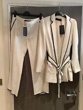Zara 2piece Cropped Ivory Bell Trousers & Belted Blazer Pjamas Co Ord SET Size M
