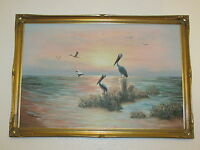 Very Large Original Oil Painting On Canvas Seascape With Pel Signed By W. Dawson