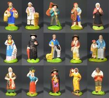 Old French Santons Terracotta Nativity Figurines Provence, Creche Village 15 pcs