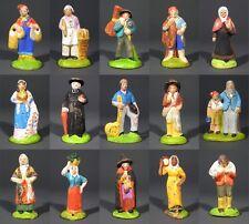 OldFrench SantonsTerracotta Nativity Figurines Provence, Creche Village 15 pcs