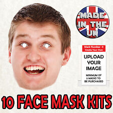 10 Personalised Face Masks Custom Made to order Photo Card Cheap Self Cut kit v