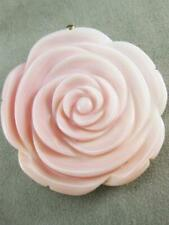 ESTATE LARGE CARVED PINK MOTHER OF SHELL 18KT ROSE GOLD FLOWER PENDANT #K1342.3