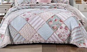 Shabby Chic French Country Throw Patchwork Pink Blue Cotton 155x130cm