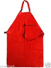 Red Leather Welder Apron with Buckle & Leather Strap