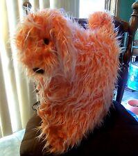 Adorable 14 inch Square Shaggy Orange Designer Pillow Soft Impressions Free Ship
