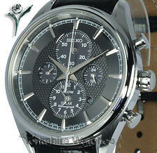New Seiko Solar Black Dial Chrono Alarm With Calf Leather Strap SSC211P2