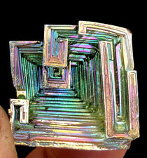 34g   Mystery of rare natural bismuth crystal square hole crystal cluster