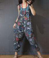 Womens Denim Floral Printing Bib Pants Jeans Overalls Rompers Jumpsuits Oversize