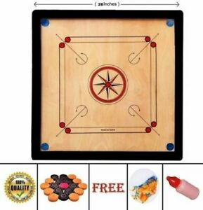 """26"""" CARROM BOARD for Kids and Children glossy finish W/ FREE COINS + STRIKER"""