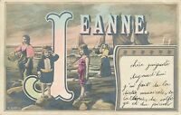 Jeanne Name Hand Colored Postcard - 1905