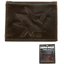 San Jose Sharks Dark Brown Leather Tri-fold Wallet
