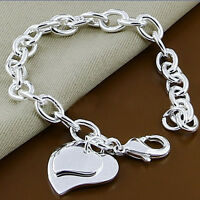 1pc Women's Men Chain Bracelet Heart Silver Plated Jewelry Clips Bangle Fashion