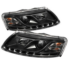 Audi 05-08 A6 Black Projector Headlights LED Daytime Running DRL 05 06 07 08