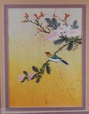 China Chinese Floral Avian Acrylic on Batik Painting by P. Chan ca. 20th c. #2