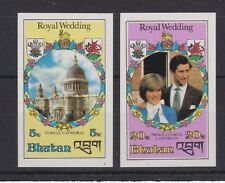 1981 Royal Wedding Charles & Diana MNH Stamps Stamp Set Bhutan Imperf 5nu &20nu